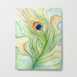 Peacock Feather Green Texture and Bubbles Metal Print