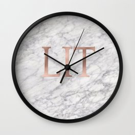 LIT rose gold on marble Wall Clock
