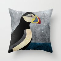puffin Throw Pillows featuring puffin by John Beswick