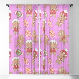 Cute decorative hygge seamless pink pattern. Happy gingerbread men and sweet xmas caramel chocolate Sheer Curtain