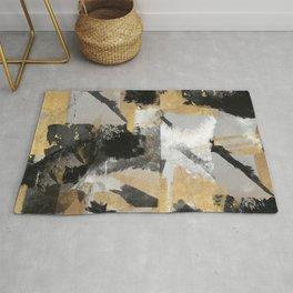 Gold leaf black, geometrical abstract Rug