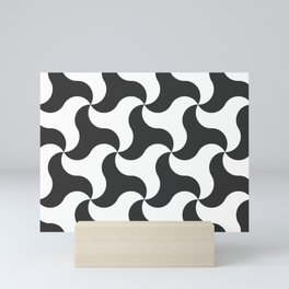 Black & white shark tooth pattern for the beach Mini Art Print