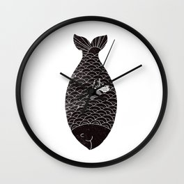 Fishing in a fish Wall Clock