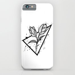 Tulip Handmade Drawing, Made in pencil and ink, Tattoo Sketch, Tattoo Flash, Blackwork iPhone Case