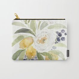 Watercolor Flowers with Blueberries Carry-All Pouch
