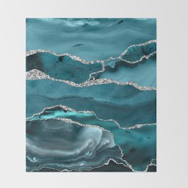 Glamour Turquoise Blue Bohemian Watercolor Marble With Silver Glitter Veins Throw Blanket