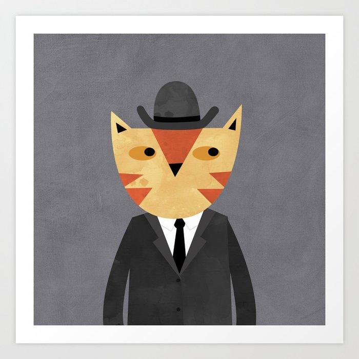 Ginger Cat in a Bowler Hat Art Print