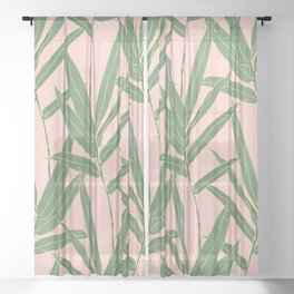 Elegant bamboo foliage design Sheer Curtain