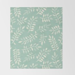 Painted Leaves - a pattern in cream on soft mint green Throw Blanket