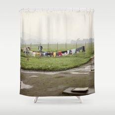 on a line::rwanda Shower Curtain
