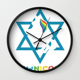 Jew David Star Unicorn Rainbow Gift Wall Clock