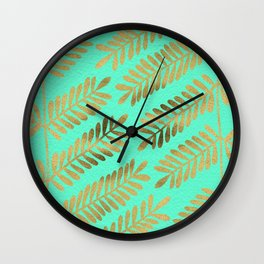 Leaflets – Turquoise & Gold Wall Clock