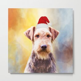 Airedale Dog Christmas Santa Hat Art Portrait Metal Print