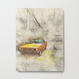 Yellow Mustang Metal Print