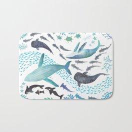 Sharks, Humpback Whales, Orcas & Turtles Ocean Play Print Bath Mat