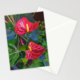 Red Anthurium Tropical Flower Watercolor Art Stationery Cards