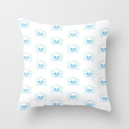 Light Blue Skull and Crossbones Print and Pattern Throw Pillow