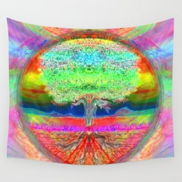 Neon Glow Tree of Life Wall Tapestry