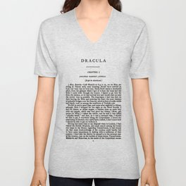 Dracula Bram Stoker First Page Unisex V-Neck