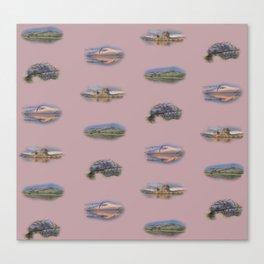 Highland Landmarks in pink Canvas Print