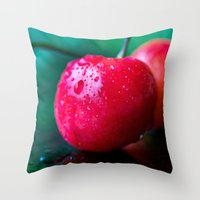 cherry Throw Pillows featuring Cherry by Lindsay Faye