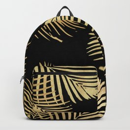 Gold Palm Leaves on Black Backpack