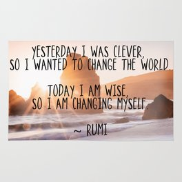 Motivational Rumi Quotation - Yesterday I was Clever Quote Art Rug