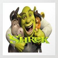 shrek Art Prints featuring shrek by store2u