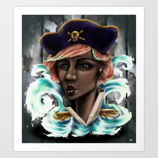 Captain Squid Lips Marque Art Print