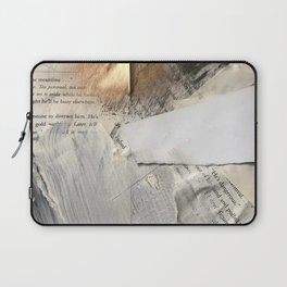 Too Soon | Collage Series 1 | mixed-media piece in gold, black and white + book pages Laptop Sleeve