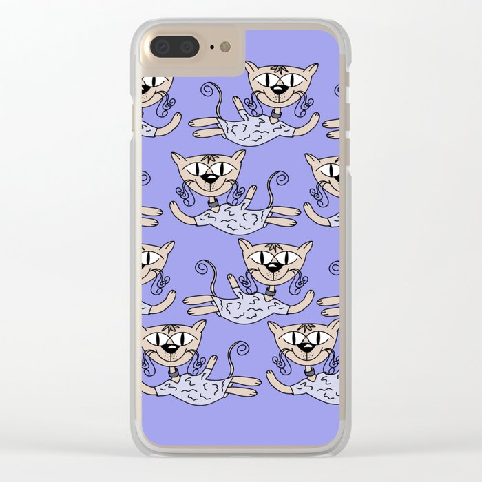 Flying cats in blue Clear iPhone Case