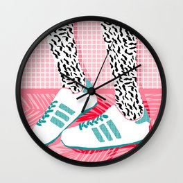 Aiight - sports fashion retro throwback style 1980s neon palm springs socal country club hipster Wall Clock