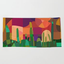 Botanical Wonderland - Cactus Garden Bybrije Beach Towel