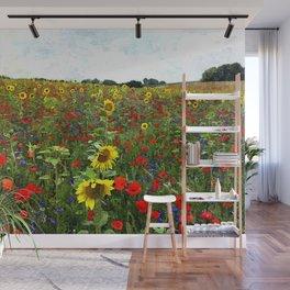 Field of Sunflowers, Bluebonnets, & Red Poppy floral portrait painting by J. Ferro & M. Bruggen  Wall Mural
