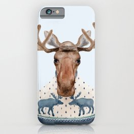 M is for a Moose in a Marvelous Moose Sweater | Watercolor Moose iPhone Case