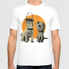 Cats&Dogs White Mens Fitted Tee MEDIUM