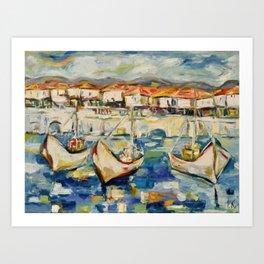 Three boats on the pier Art Print
