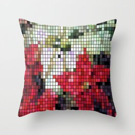 Mixed Color Poinsettias 2 Mosaic Throw Pillow