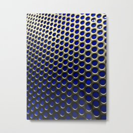 Stainless Steel Circles with Blue Metal Print