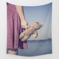 teddy bear Wall Tapestries featuring Teddy by Maria Heyens
