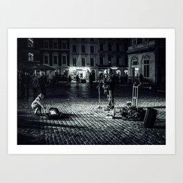 The busker Art Print