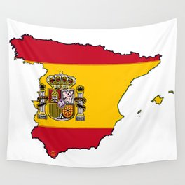 Spain Map with Spanish Flag Wall Tapestry
