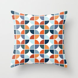 Colorful retro style geometry Throw Pillow