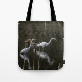 Three Great Egrets Among the Ducks, No. 1 Tote Bag