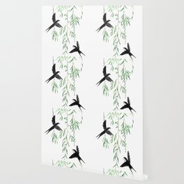 green willow leaf and swallow watercolor Wallpaper