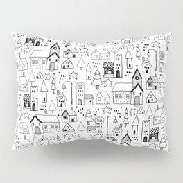 Tiny town: playful black and white line art of a whimsical town Pillow Sham