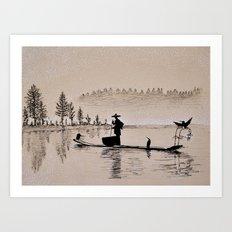 Sunrise Bird Fishing Art Print