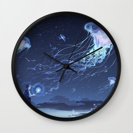 Boy in a land of jellyfish Wall Clock