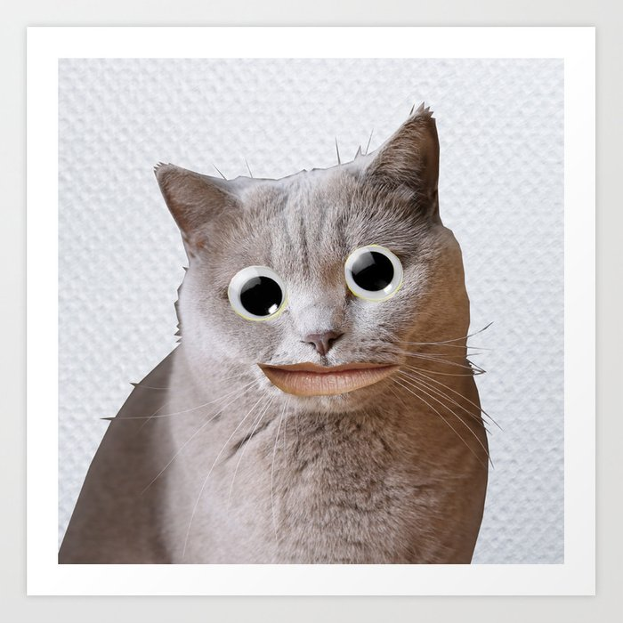 Cat With Googly Eyes Art Print