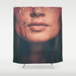 Young woman muse with creative body art and hairdo (7) Shower Curtain